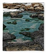 Black Rocks On Blue Water Fleece Blanket