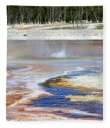 Black Sand Basin Geysers In Yellowstone National Park Fleece Blanket