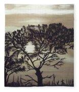 Black Silhouette Tree Fleece Blanket