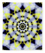 Black, White And Yellow Sunflower Fleece Blanket