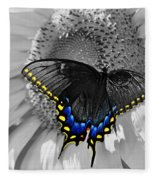 Black Swallowtail And Sunflower Color Splash Fleece Blanket