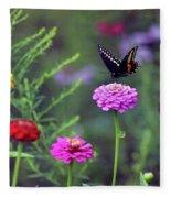Black Swallowtail Butterfly In August  Fleece Blanket