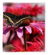 Black Swallowtail Butterfly With Coneflower And Monarda Fleece Blanket