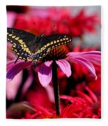 Black Swallowtail Butterfly With Coneflowers And Bee Balm Fleece Blanket