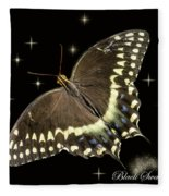 Black Swallowtail On Black Fleece Blanket