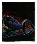 Black Swan In Color Fleece Blanket