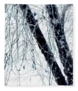 Black Tree White Night Fleece Blanket