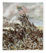 Black Troops Of The Fifty Fourth Massachusetts Regiment During The Assault Of Fort Wagner Fleece Blanket