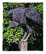 Black Vulture On A Fence Post Fleece Blanket