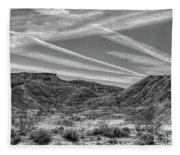Black White Chem Trails Sky Overton Nevada  Fleece Blanket