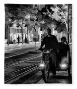 Black White Downtown Sj Trans Fleece Blanket