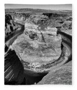 Black White Horseshoe Bend Arizona  Fleece Blanket