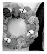 Black White Skulls Classic Car  Fleece Blanket