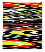 Black Yellow Red White Abstract Fleece Blanket
