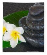 Black Zen Stones Fleece Blanket