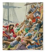 Blackbeard And His Pirates Attack Fleece Blanket