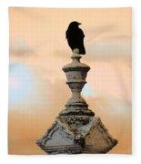 Blackbird And A Coral Sky Fleece Blanket