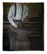 Blacksmith At Work Fleece Blanket