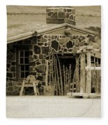 Blacksmith Shop 1867 Cove Creek Fort Utah Photograph In Sepia Fleece Blanket