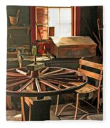 Blacksmith Shop Wheel Repair At Old World Wisconsin Fleece Blanket