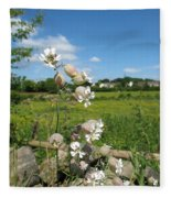 Bladder Campion On Stone Wall Fleece Blanket