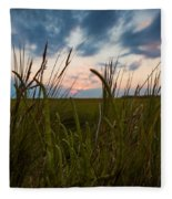 Blades Of Sunset Fleece Blanket