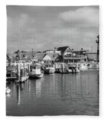 Black And White Oceanside California Marina  Fleece Blanket