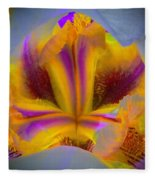 Blazing Heart Of An Iris Fleece Blanket