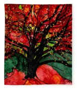 Blazing Red Orange Autumn Tree Fleece Blanket