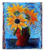 Blazing Sunflowers Fleece Blanket