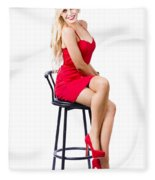 Blond Female Bistro Babe On Bar Stool In Red Dress Fleece Blanket