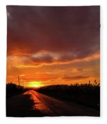 Blood And Gold In The Road Sunset At Portmahon Delaware Fleece Blanket