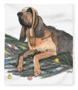 Blood Hound Christmas Fleece Blanket