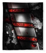 Bloody Knife Wrapped In Red Crime Scene Ribbon Fleece Blanket