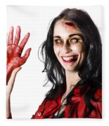 Bloody Zombie Woman With Severed Hand Fleece Blanket