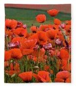 Bloom Red Poppy Field Fleece Blanket