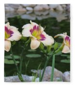 Blooming By The Pond Fleece Blanket