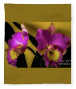 Blooming Cattleya Orchids Fleece Blanket