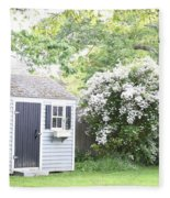 Blooming Tree Next To Shed Fleece Blanket
