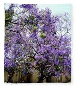 Blooming Tree With Purple Flowers Fleece Blanket