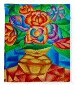 Blooms In Blue Fleece Blanket