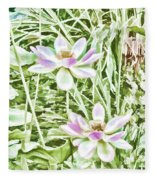 Blossom Pink Lotus Flower Fleece Blanket