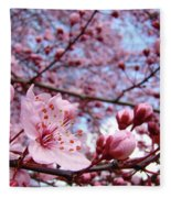 Blossoms Art Blue Sky Spring Tree Blossoms Pink Giclee Baslee Troutman Fleece Blanket