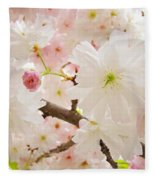 Blossoms Art Print 53 Sunlit Pink Tree Blossoms Macro Springtime Blue Sky  Fleece Blanket