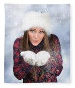 Blowing Snow In Winter Fleece Blanket