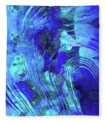 Blue Abstract Art - Reflections - Sharon Cummings Fleece Blanket