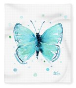 Blue Abstract Butterfly Fleece Blanket