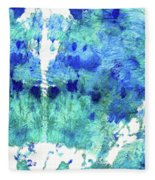 Blue And Aqua Abstract - Wishing Well - Sharon Cummings Fleece Blanket