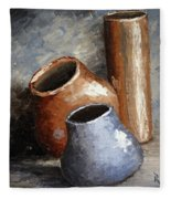 Blue And Brown Pots Fleece Blanket