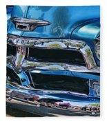 Blue And Chrome Chevy Pickup Front End Fleece Blanket